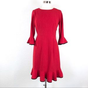 NWT Nanette Lepore Red Long Sleeve Ruffle Dress
